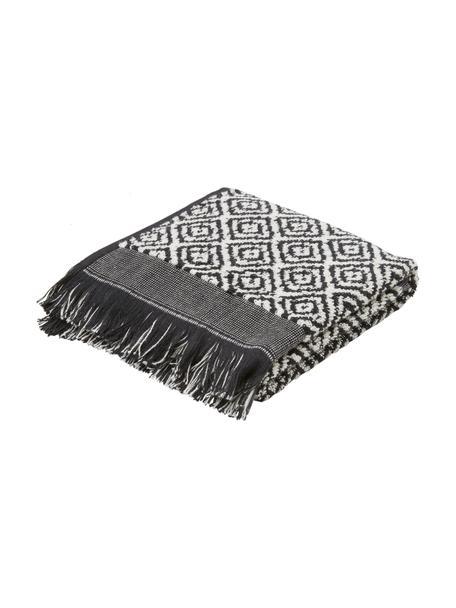 Handtuch Morocco in verschiedenen Größen, mit Rautenmuster, Schwarz, Weiß, Gästehandtuch