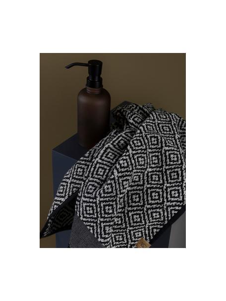 Asciugamano con motivo a rombi Morocco, Nero, bianco, Asciugamano per ospiti