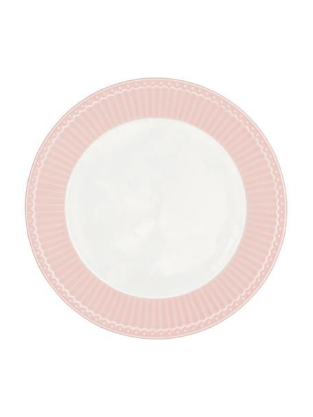 Ręcznie wykonany talerz śniadaniowy Alice, 2 szt., Kamionka, Blady różowy, biały, Ø 23 cm