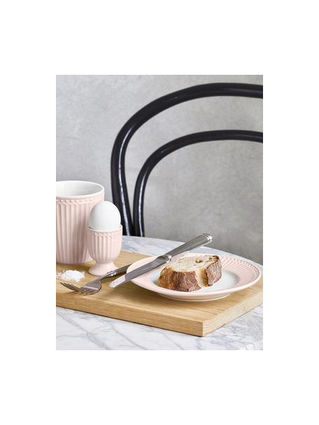 Handgemachte Frühstücksteller Alice in Rosa mit Reliefdesign, 2 Stück, Steingut, Rosa, Weiß, Ø 23 cm