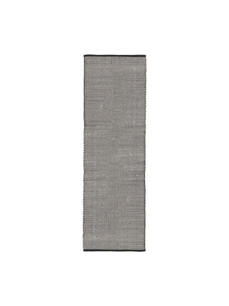 Alfombra artesanal de lana Amaro, Parte superior: 100%lana, Reverso: 100%algodón Las alfombra, Negro, blanco crema, An 80 x L 250 cm