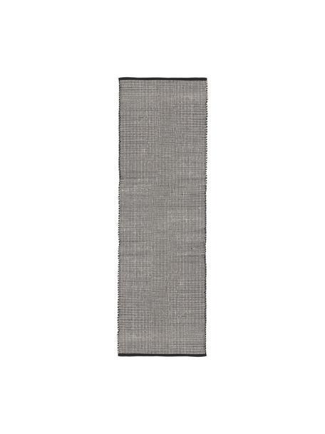 Ręcznie tkany chodnik z wełny Amaro, 38% wełna, 22% poliester, 20% bawełna, 20% poliamid, Czarny, kremowobiały, S 80 x D 250 cm