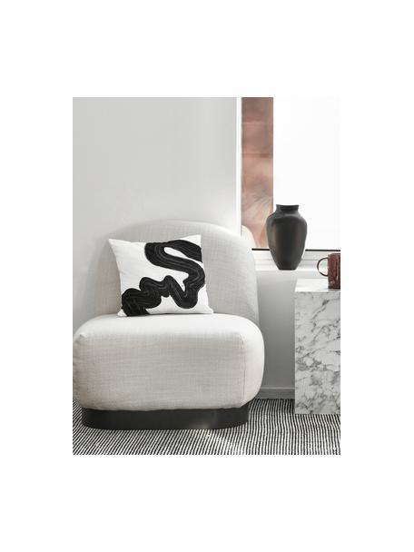 Handgeweven wollen loper Amaro in zwart/crèmekleur, Bovenzijde: 100% wol, Onderzijde: 100% katoen Bij wollen vl, Zwart, crèmewit, 80 x 250 cm