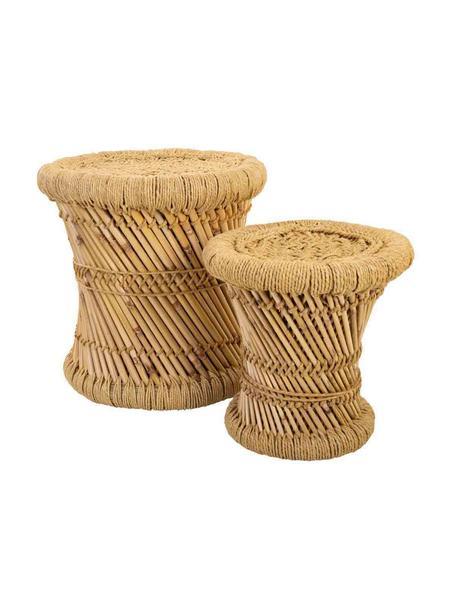 Komplet zewnętrznych stolików pomocniczych z drewna bambusowego Ariadna, 2 elem., Drewno bambusowe, lina, Brązowy, Komplet z różnymi rozmiarami