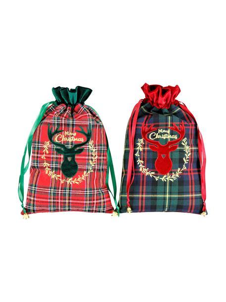 Geschenktüte Merry Christmas H 35 cm, 2 Stück, Polyester, Baumwolle, Grün, Rot, Schwarz, 22 x 35 cm