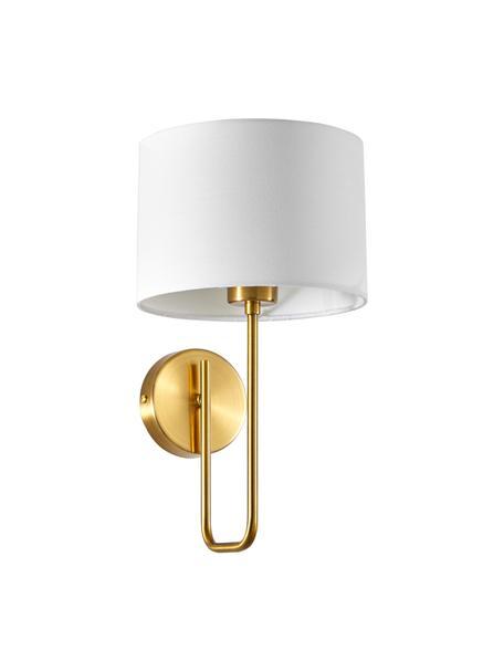 Wandleuchte Montreal, Lampenschirm: Textil, Gestell: Metall, galvanisiert, Weiß, Goldfarben, Ø 20 x H 36 cm