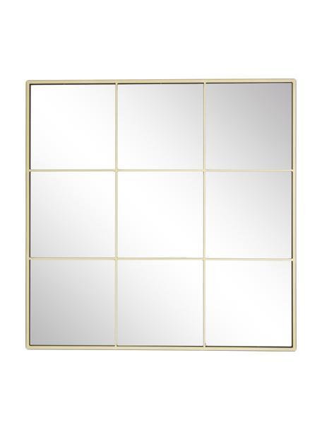 Rechthoekige wandspiegel Clarita met goudkleurig metalen frame, Frame: gecoat metaal, Goudkleurig, 70 x 70 cm