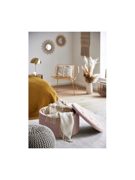 Fluwelen poef Retina met opbergruimte in oudroze, Polyester fluweel, kunststof, Oudroze, Ø 60 x H 35 cm