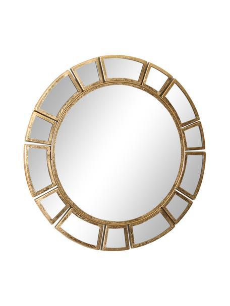Runder Wandspiegel Amy mit messingfarbenem Metallrahmen, Rahmen: Metall, vermessingt, Spiegelfläche: Spiegelglas, Messingfarben, Ø 78 x T 2 cm