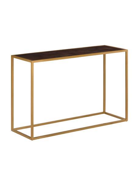 Konsola  James, Stelaż: metal malowany proszkowo, Półka: drewno mangowe z ciemnym lakierem Stelaż: odcienie złotego, matowy, S 120 x W 78 cm