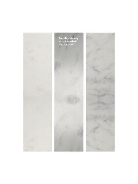 Marmor-Couchtisch Alys, Tischplatte: Marmor Naturstein, Gestell: Metall, pulverbeschichtet, Weisser Marmor, Silberfarben, 120 x 35 cm