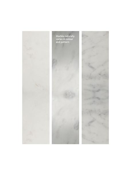 Tavolino da salotto con piano in marmo Alys, Piano d'appoggio: pietra naturale di marmo, Struttura: metallo verniciato a polv, Marmo bianco, argento, Larg. 120 x Alt. 35 cm