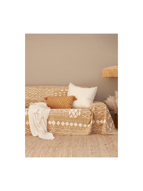 Narzuta Boa, 100% bawełna, Musztardowy, biały, S 225 x W 260 cm (dla łóżek od 160 x 200)