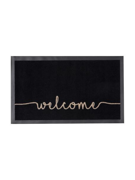 Polyamid-Fussmatte Welcome, Vorderseite: Polyamid, Rückseite: Gummi, Schwarz, Beige, 45 x 75 cm