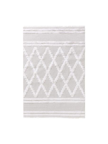 Waschbarer Boho Baumwollteppich Oslo Diamonds mit Hoch-Tief-Muster, 100% Baumwolle, Cremeweiß, Beige, B 150 x L 230 cm (Größe M)