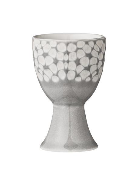 Eierdopje Abella in grijs/wit met structuurpatroon, 2 stuks, Keramiek, Grijs, wit, Ø 5 x H 8 cm