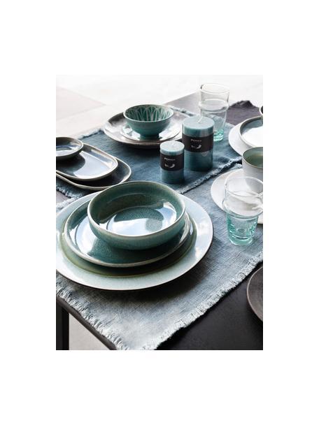 Keramische ontbijtborden Audrey, 2 stuks, Keramiek, Groen-blauw, Ø 20 cm