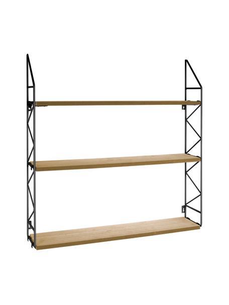 Klein wandrek Zig Zag, Frame: gelakt metaal, Frame: zwart. Planken: bruin, 60 x 60 cm
