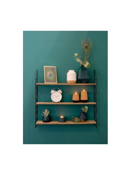 Estantería de pared pequeña Zig Zag, Estructura: metal pintado., Estantes: tablero de fibras de dens, Negro, marrón, An 60 x Al 60 cm