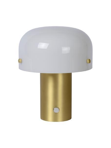 Kleine Dimmbare Tischlampe Timon mit Touch-Funktion, Lampenschirm: Opalglas, Lampenfuß: Metall, Schalter: Kunststoff, Opalweiß, Messingfarben, matt, Ø 18 x H 21 cm