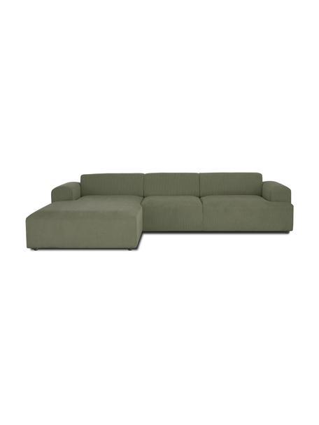 Cord-Ecksofa Melva (4-Sitzer) in Grün, Bezug: Cord (92% Polyester, 8% P, Gestell: Massives Kiefernholz, FSC, Cord Grün, B 319 x T 196 cm