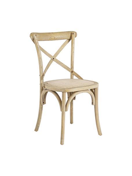 Holzstuhl Cross im Landhausstil, Sitzfläche: Rattan, Gestell: Ulmenholz, klar lackiert, Braun, B 42 x T 46 cm