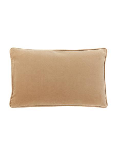 Poszewka na poduszkę z aksamitu Dana, 100% aksamit bawełniany, Jasny brązowy, S 30 x D 50 cm