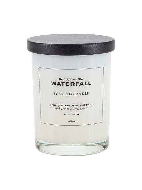 Geurkaars Waterfall (natuurlijk water, citroengras), Houder: glas, Deksel: kunststof, Natuurlijk water, citroengras, Ø 8 x H 10 cm