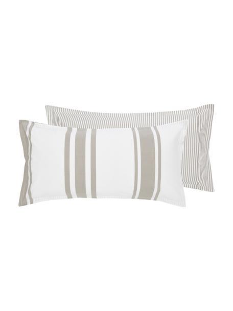Dwustronna poszewka na poduszkę z organicznego perkalu z efektem sprania Kinsley, Beżowy, biały, S 40 x D 80 cm