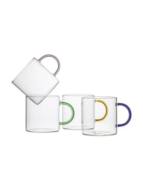 Tassen-Set Viola aus Glas mit bunten Henkel, 4-er Set, Glas, Transparent, Mehrfarbig, Ø 8 x H 8 cm
