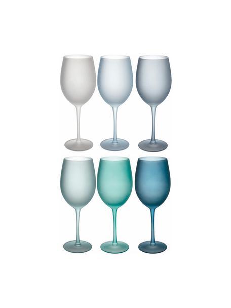 Set de copas de vino Happy Hour, 6uds., Vidrio, Tonos azules, Ø 9 x Al 24 cm