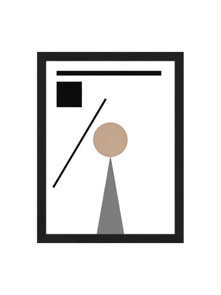 Lámina decorativa Abstract Minimalist, Negro, beige, blanco, gris, An 33 x Al 43 cm