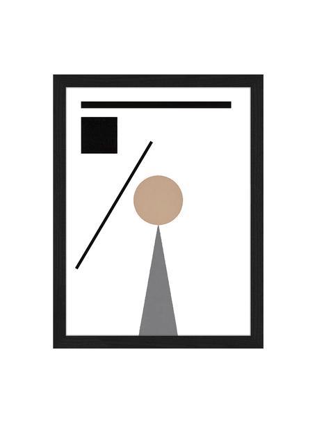 Oprawiony druk cyfrowy Abstract Minimalist, Czarny, beżowy, biały, szary, S 33 x W 43 cm