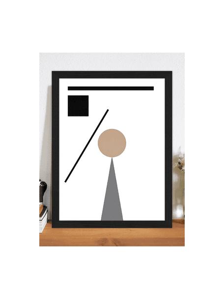 Ingelijste digitale print Abstract Minimalist, Lijst: gelakt beukenhout, Afbeelding: digitale print op papier,, Zwart, beige, wit, grijs, 33 x 43 cm