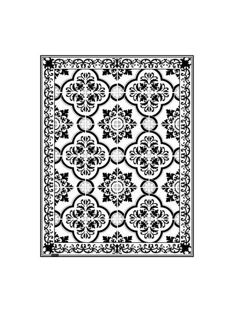 Tappetino antiscivolo nero/bianco in vinile Elena, Vinile riciclabile, Nero, bianco, grigio, Larg. 65 x Lung. 85 cm