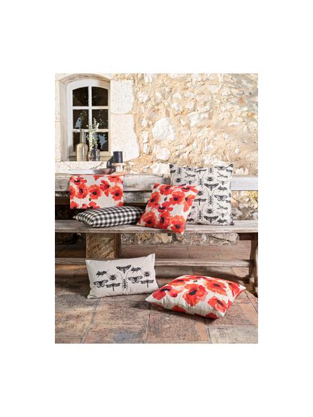 Kissenhülle Poppy mit Mohnmotiv, 85% Baumwolle, 15% Leinen, Rot, Weiß, Schwarz, 50 x 50 cm