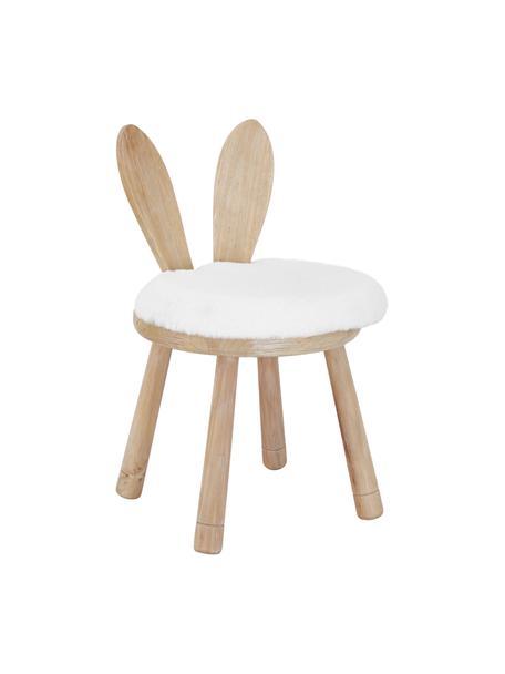 Holz-Kinderstuhl Bunny mit Sitzkissen, Sitzkissen: Baumwolle, Gummiholz, Creme, 34 x 55 cm