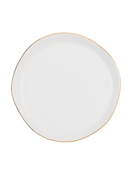 Dessertteller Good Morning in Weiß mit goldfarbenem Rand, Ø 17 cm, Steingut, Weiß, Goldfarben, Ø 17 cm