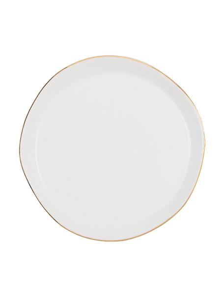 Piattino da dessert con bordo dorato Good Morning, Ø 17 cm, Porcellana, Bianco, dorato, Ø 17 cm
