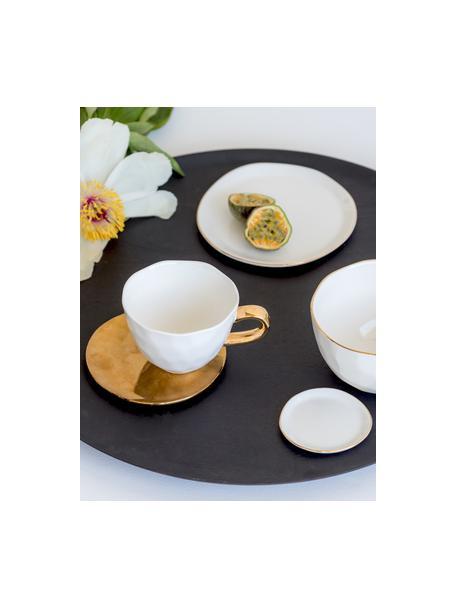 Broodbord Good Morning in wit met goudkleurige rand, Ø 17 cm, Porselein, Wit, goudkleurig, Ø 17 cm
