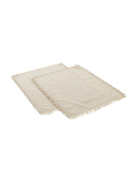 Katoenen placemats Henley met franjes, 2 stuks, 100% katoen, Beige, 35 x 45 cm