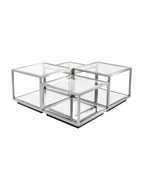 Set de mesas de centro Luigi, 4uds., Estructura: acero inoxidable, pulido, Tablero: vidrio laminado, Patas: tableros de fibra de dens, Plateado, Set de diferentes tamaños