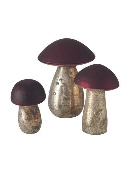 Decoratieve objectenset Putu, 3-delig, Glas, Zilverkleurig met antieke afwerking, donkerroze, Set met verschillende formaten