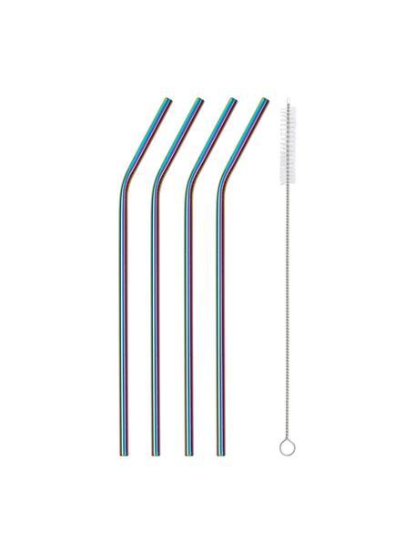 Strohhalme Shine in Regenbogenfarben mit Bürste, 4er-Set, Strohhalm: Edelstahl, Mehrfarbig, L 23 cm