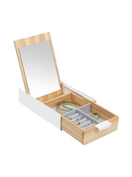 Sieradendoos Reflexion, Doos: metaal, gelakt, hout, Doos: wit, hout Voering: grijs Deksel binnenkant: spiegelglas, 24 x 6 cm