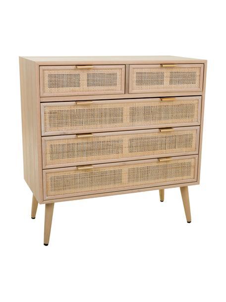 Cassettiera in legno Cayetana, Maniglie: metallo, Piedini: legno di bambù verniciato, Marrone, Larg. 80 x Alt. 81 cm