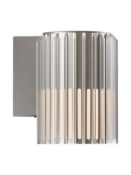 Outdoor wandlamp Matrix in zilverkleur, Lampenkap: gecoat metaal, Diffuser: kunststof, Zilverkleurig, opaalwit, 12 x 17 cm