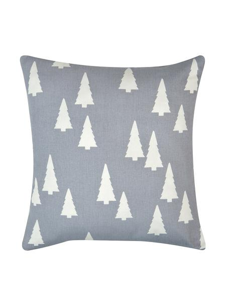 Federa arredo color grigio/bianco  Tree, Cotone, tessuto panama, Grigio, ecru, Larg. 40 x Lung. 40 cm