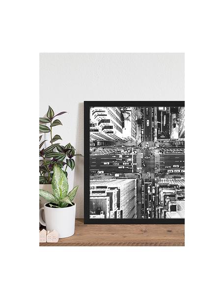 Gerahmter Digitaldruck Aerial View Of New York, Bild: Digitaldruck auf Papier, , Rahmen: Holz, lackiert, Front: Plexiglas, Schwarz, Weiß, 53 x 43 cm