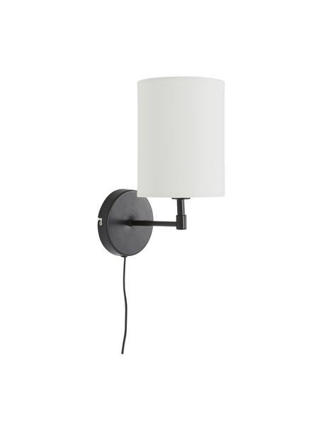 Apliques Seth, 2uds., estilo clásico, con enchufe, Pantalla: tela, Estructura: metal pintado, Cable: plástico, Negro, blanco, Ø 15 x Al 32 cm